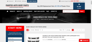 Painted Autobody Parts website product page for Toyota Sienna parts