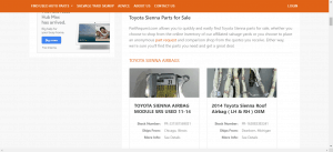 Part Request website product page for Toyota Sienna parts
