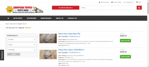 Sunnyside Toyota Parts Barn website product page for Toyota Sienna parts