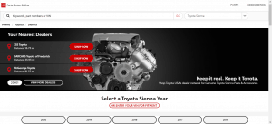 Toyota website product page for Toyota Sienna parts