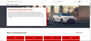 Waldorf Toyota website product page for Toyota Sienna parts
