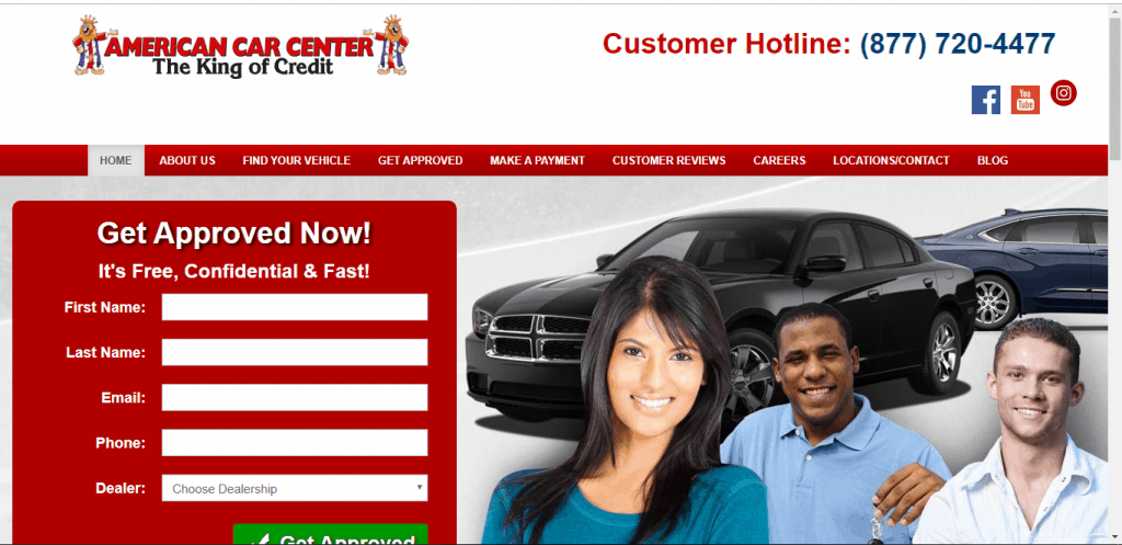American Car Center website home page