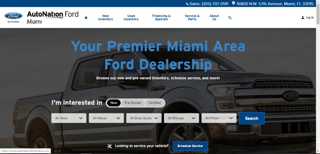AutoNation Ford Miami website home page