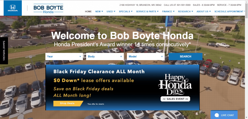Bob Boyte Honda website home page