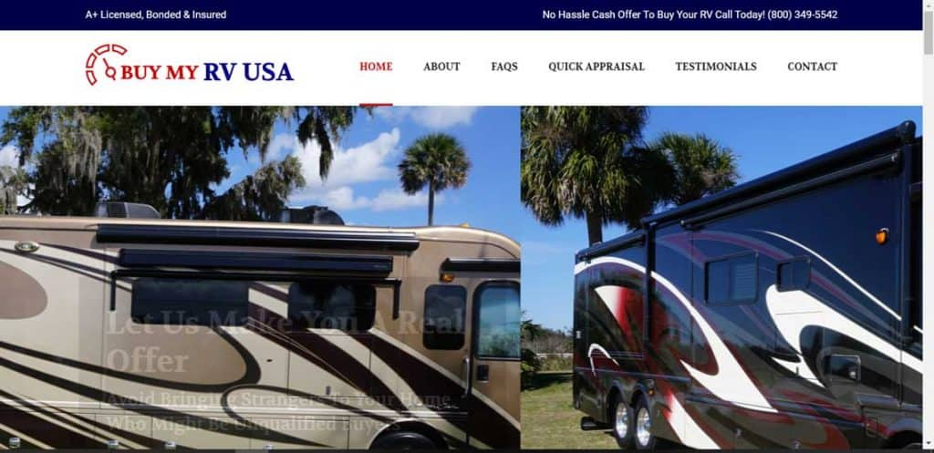Buy My RV USA website home page