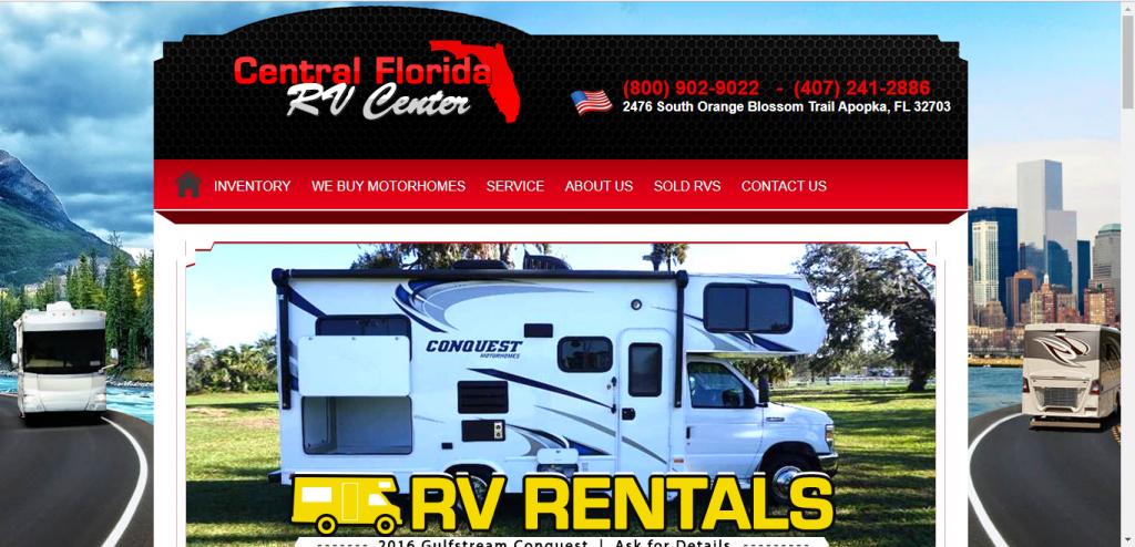 Central Florida RV Center website home page