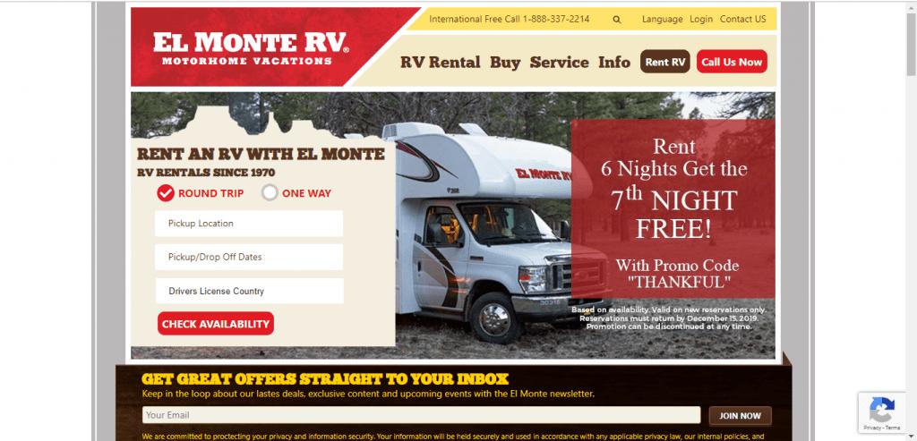El Monte RV website home page