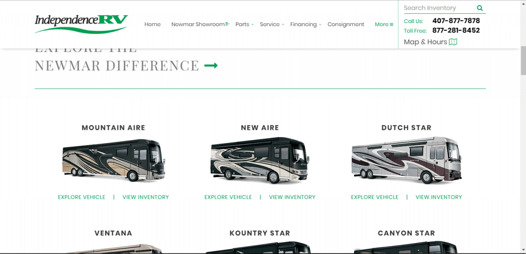 Independence RV website home page