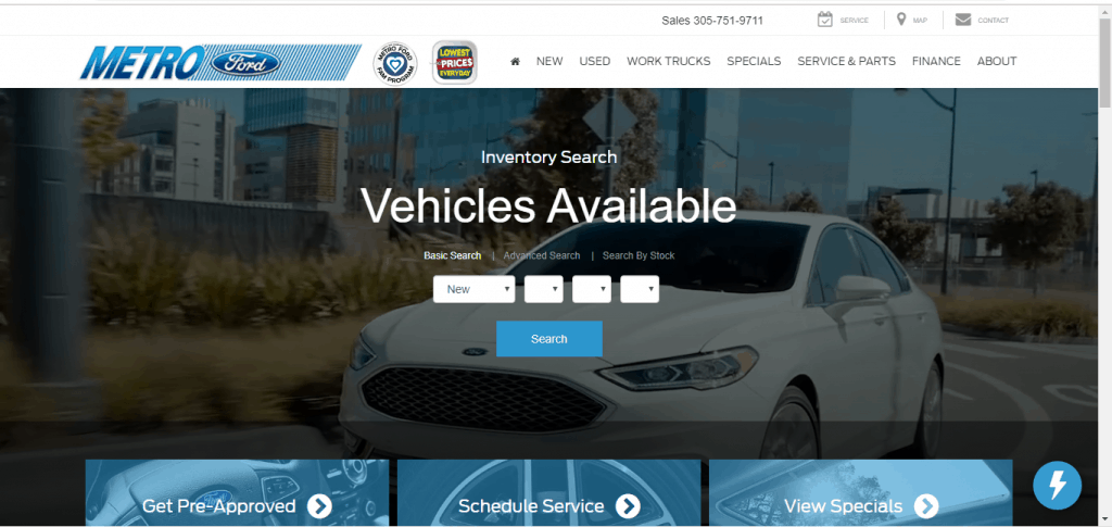 Metro Ford website home page