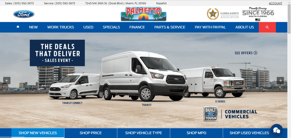 Palmetto Ford Truck Sales Inc website home page