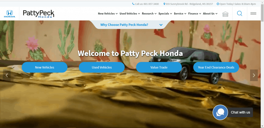 Patty Peck Honda website home page