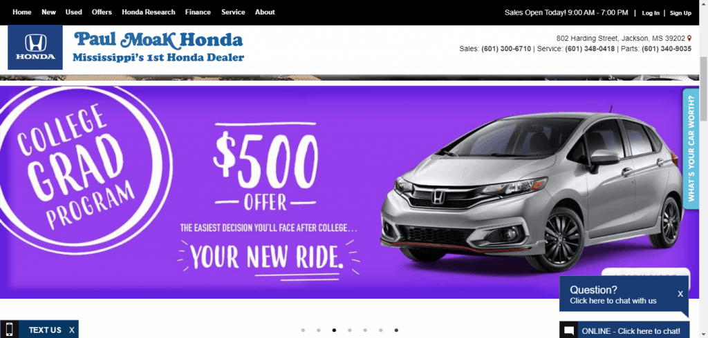 Paul Moak Honda website home page