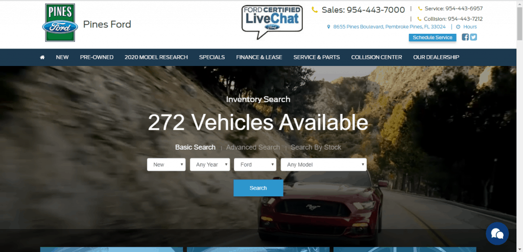 Pines Ford website home page