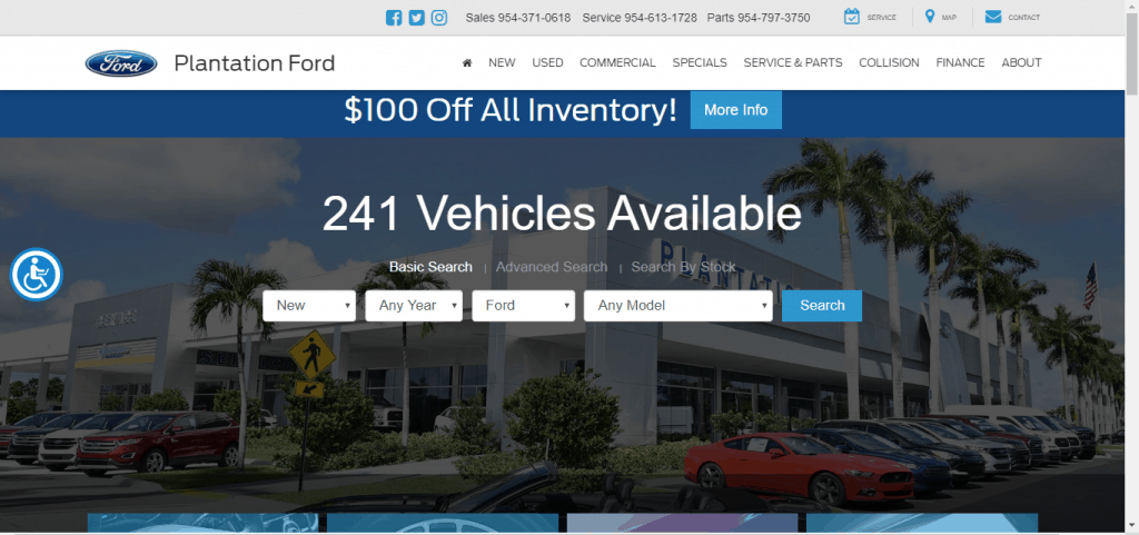 Plantation Ford website home page