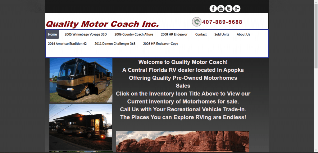 Quality Motor Coach website home page