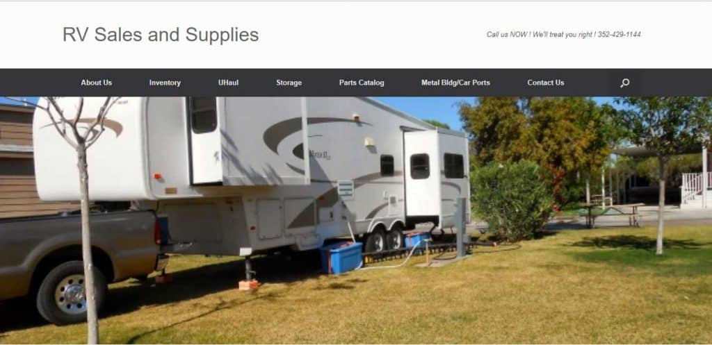 RV Sales and Supplies website home page