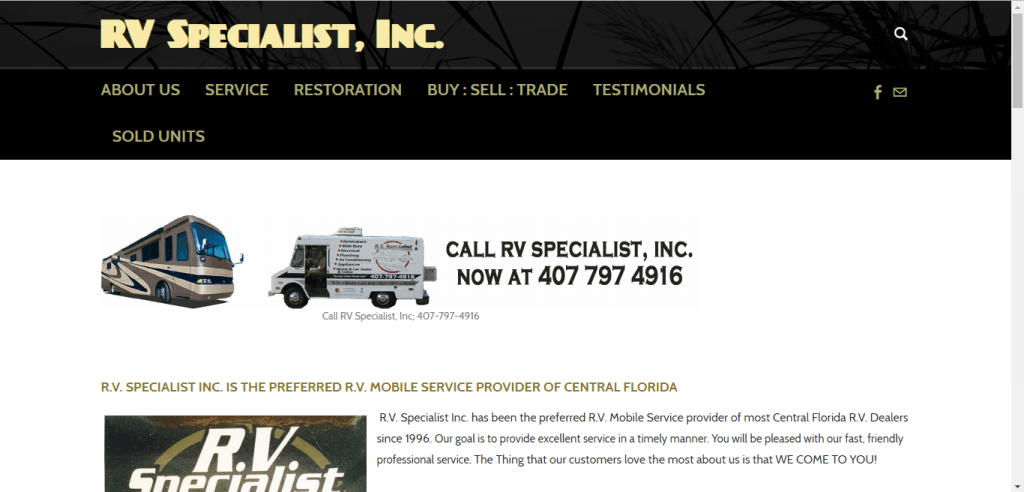 RV Specialist Inc. website home page