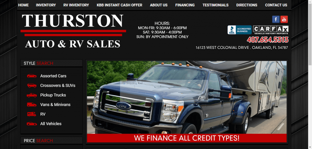 Thurston RV Sales website home page