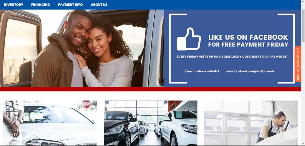Watkins Auto Sales website home page