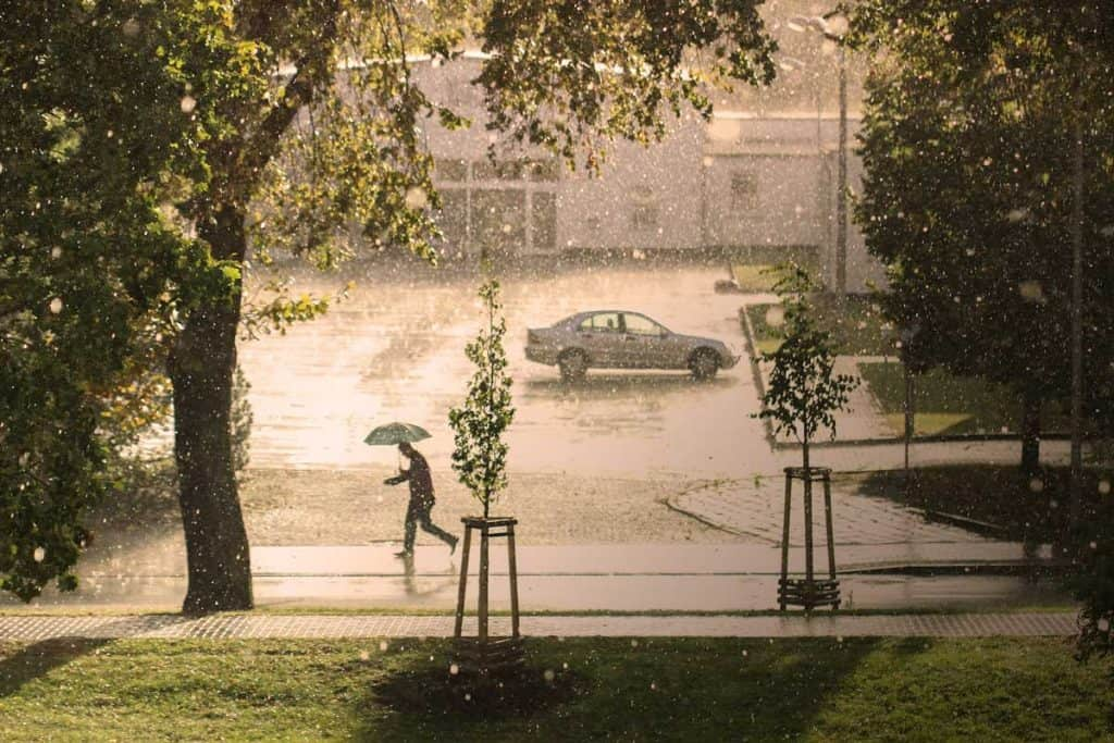 Hail & raining on Streets
