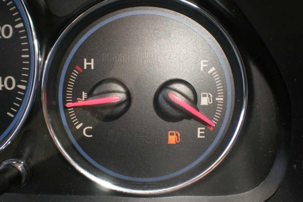 Car indicators, Left is temperature gauge, right fuel gauge