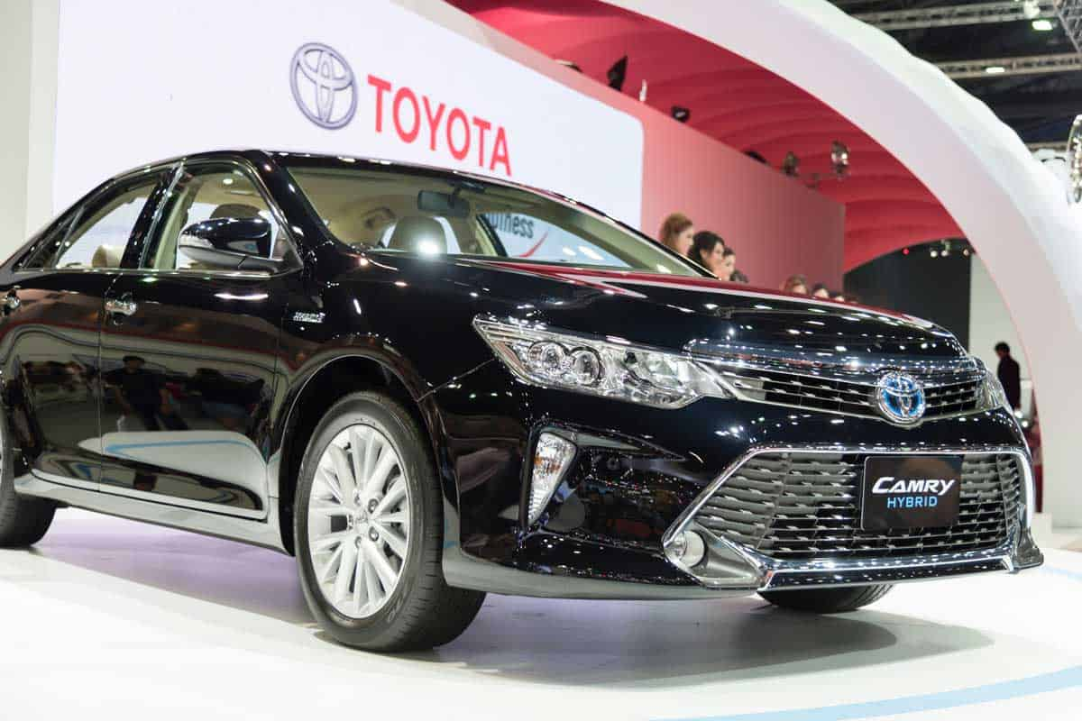 Black Toyota Camry display during motorshow