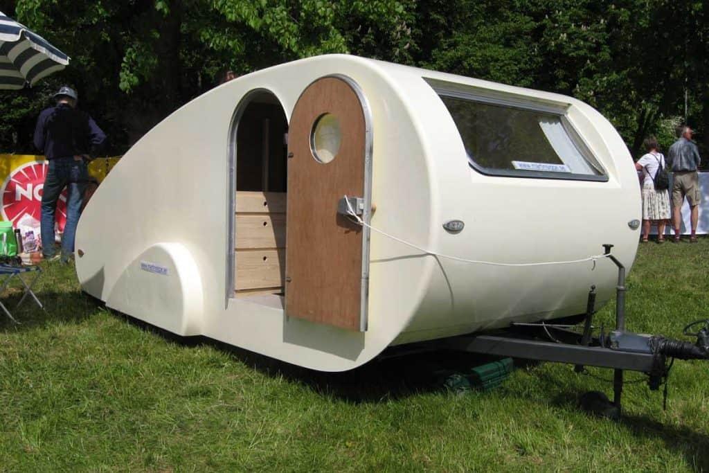 Teardrop camper with open door