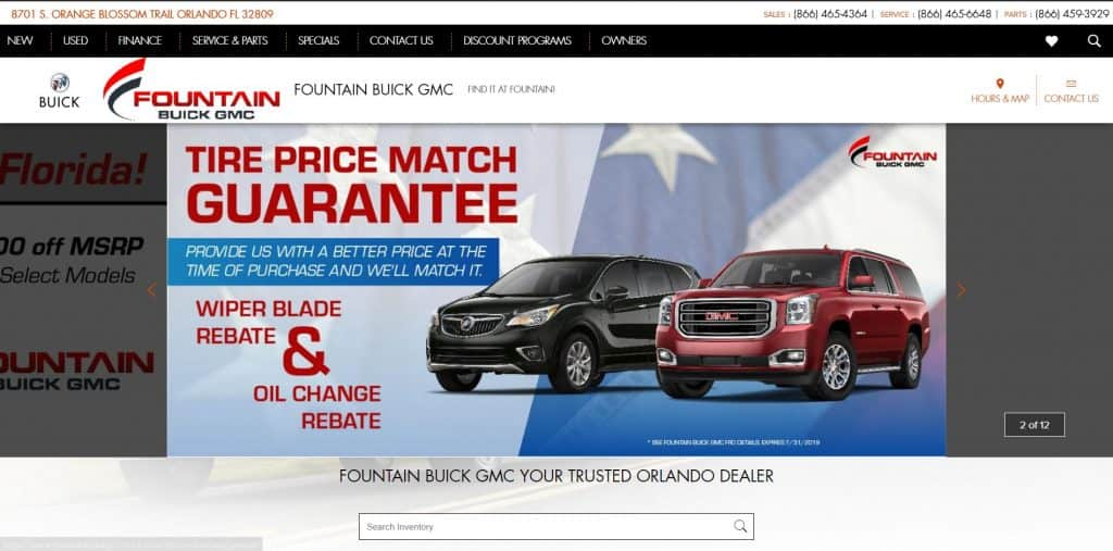Fountain Auto Mall website home page