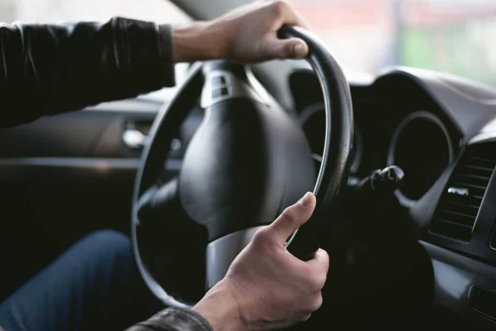 Rotated car steering wheel