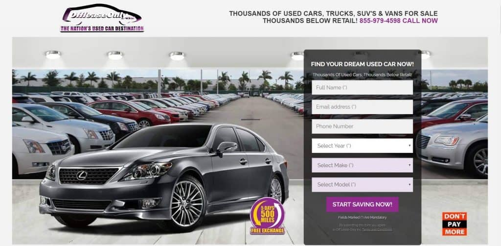 Off Lease Only Trucks and Cars website home page