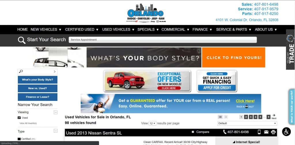 Orlando Pre-Owned website home page