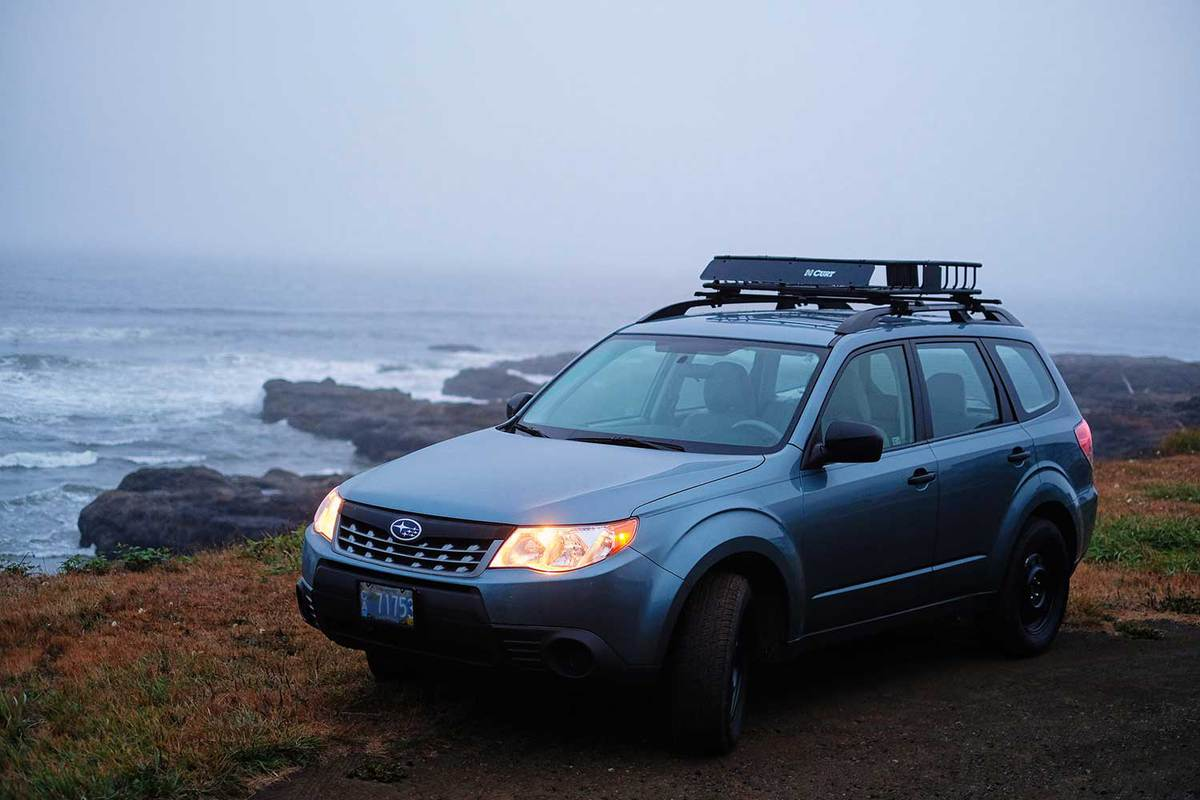 A Subaru Forester on a rocky stretch of the Oregon coast