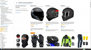 Amazon webpage for helmets and other motorcycle gears