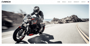 Arch motorcycle website homepage