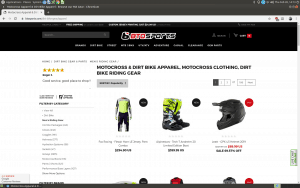 BTO Sports website motorcycle gear page
