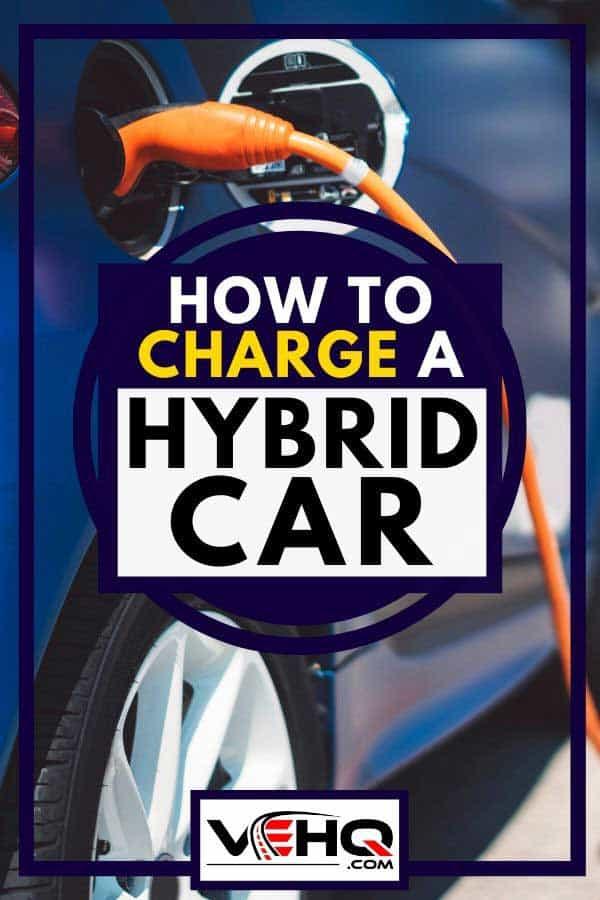 Blue color hybrid car at park charging station