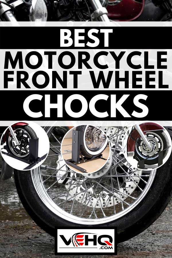 Collage of front wheel chocks with background of a motorcycle parked on a rainy day