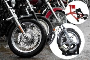 Collage of front wheel chocks with background of motorcycles parked in row together on a rainy day