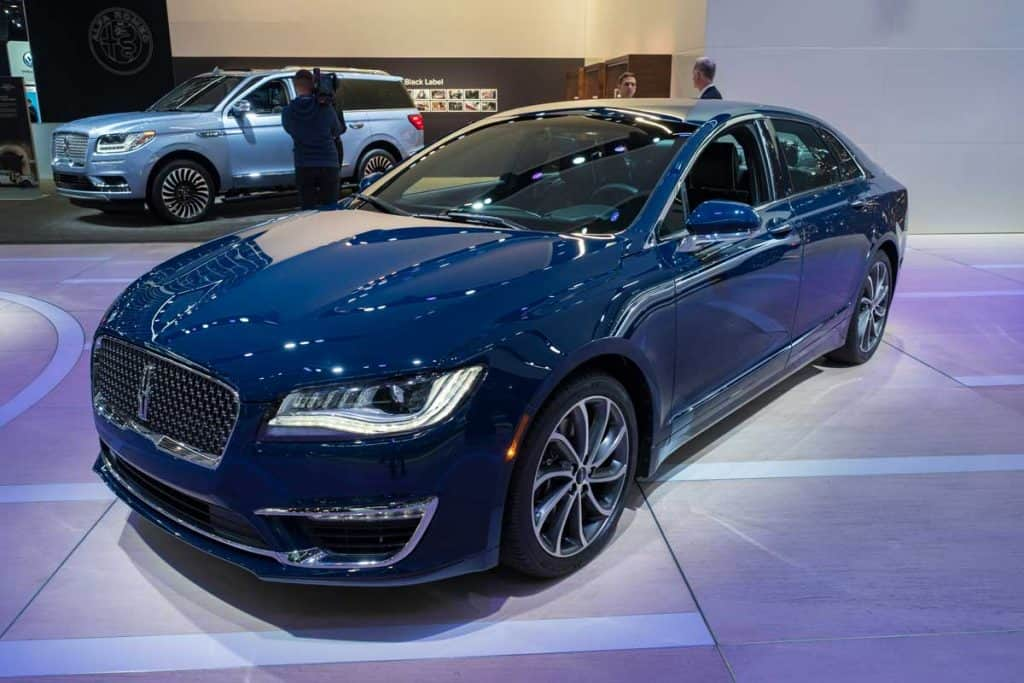 Blue shining Lincoln MKZ at Car show