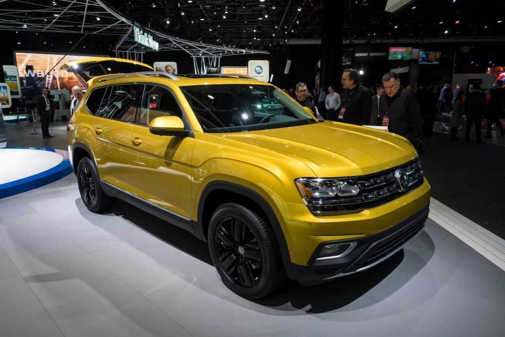 Yellow Volkswagen Atlas at Car show