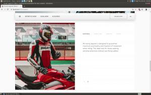 Ducati webpage for motorcycle gears