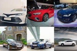 Toyota Camry, Jaguar XF, Lincoln MKZ, BMW 5 Series, Mazda Mazda6, and Buick Regal Collaged picture