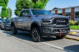 Grey 2019 Ram 2500 Heavy Duty Truck Parked in Street