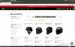 J&P Cycles webpage for helmets and other motorcycle gears