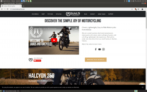 Janus Motorcycles website product page
