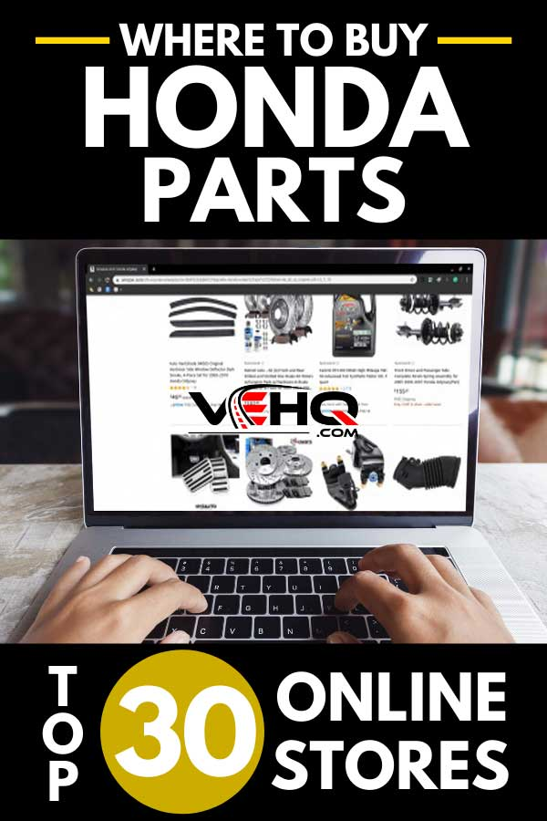 Man shopping online for honda parts using a laptop