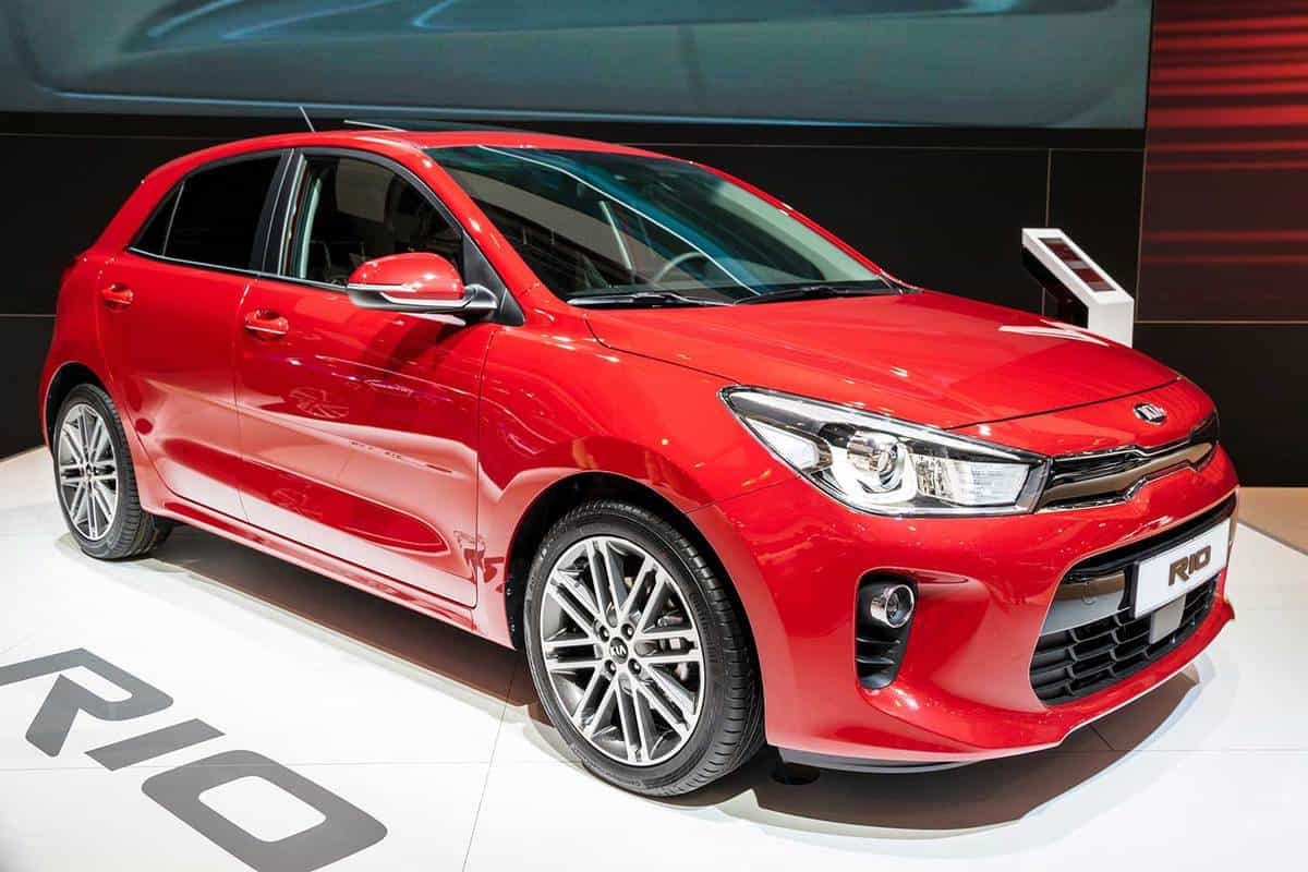 New Red Kia Rio car on display at the Motor Show