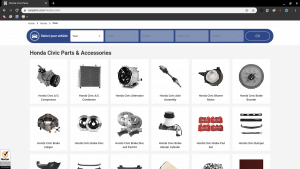 Car Parts page for Honda parts