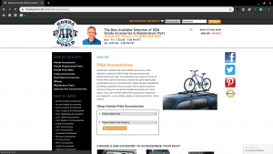 Honda Part World page for Honda parts