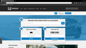 Honda Parts Network page for Honda parts